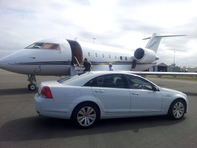 Airport pickup with sedan limousine